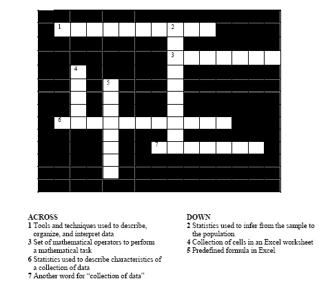 Excel Chapter 1 Crossword Puzzle Answers