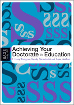 Book Cover - Achieving your Doctorate in Education, blue background with multiple S shapes in multiple directions